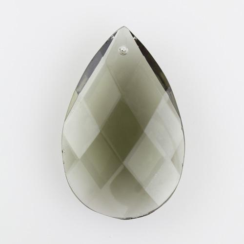 Mandorla goccia h75 mm cristallo Boemia originale cecoslovacco grigio scuro. Pendente restauro lampadari vintage