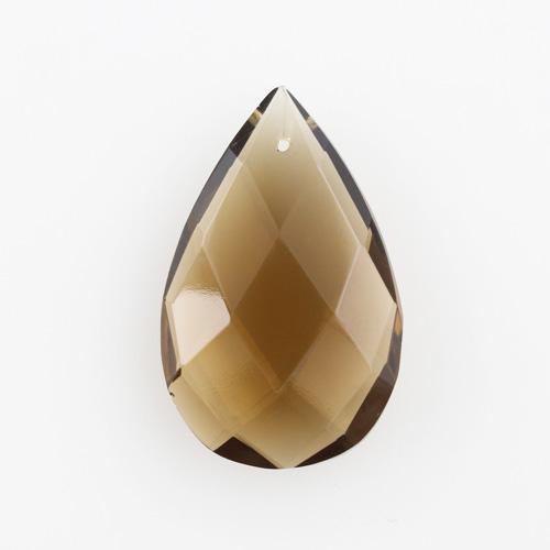 Mandorla in cristallo colorato di Boemia 50 mm marrone. Pendente goccia per restauro lampadari.