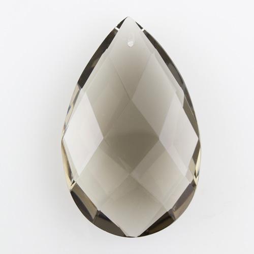 Mandorla in cristallo colorato di Boemia h85 mm grigio. Pendente lampadari anni '50 molato a mano.