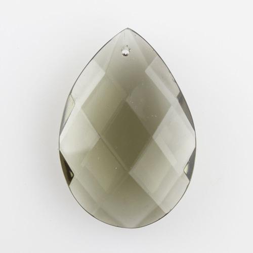 Mandorla in cristallo di Boemia fatto a mano h60 mm colore grigio scuro. Goccia per lampadari cristallo.