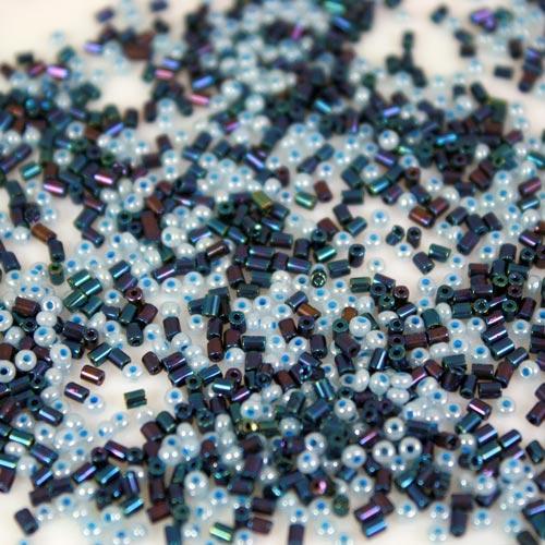 Mix perline di conteria 1-2 mm melange celeste e blu vetro murano