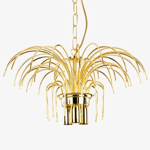 Montatura lampadario a pioggia 5 luci, finitura dorata, diametro 50 cm con 60 zampilli forati e 12 fori nel piatto.