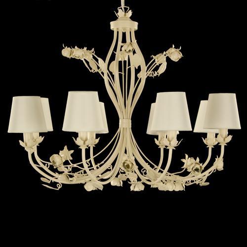 Montatura lampadario avorio 8 luci, con paralumi avorio ed elementi rose e foglie