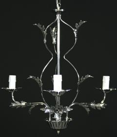 Montatura lampadario cromato 3 luci, con foglie stilizzate