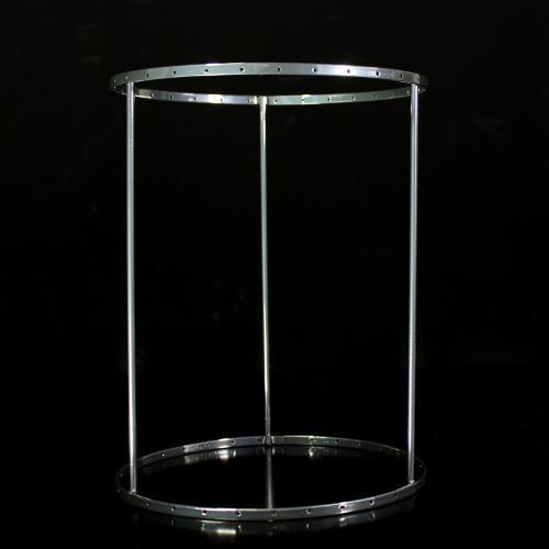 Montatura verniciata cromo per portacandela, bordo 6 mm con 31 fori per catene di cristalli. Ø18 x h23 cm