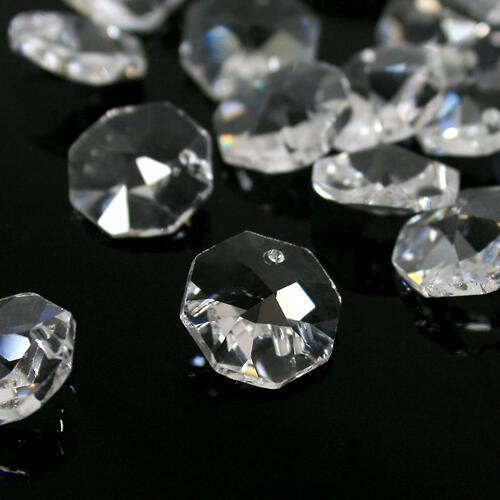 Ottagono 14 mm cristallo sfaccettato un foro -Asfour 1080-