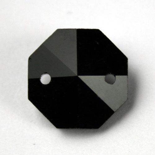 Ottagono 16 mm nero caldo cristallo vetro molato 2 fori