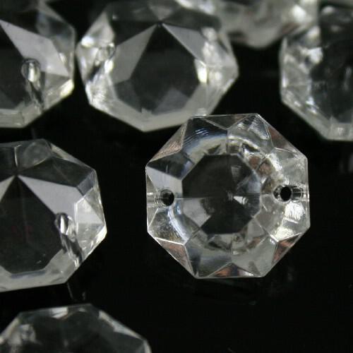 Ottagono 16 mm vetro veneziano colore puro trasparente, 2 fori