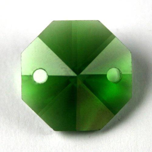 Ottagono 18 mm verde cristallo vetro molato 2 fori