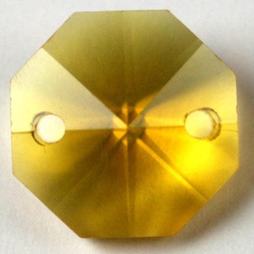 Ottagono 20 mm giallo cristallo vetro molato 2 fori