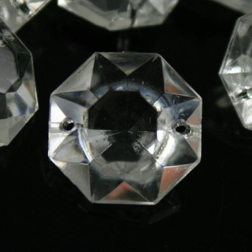 Ottagono 20 mm vetro veneziano colore puro trasparente, 2 fori