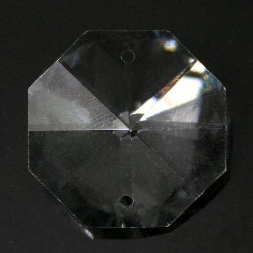 Ottagono 22 mm trasparente puro cristallo vetro molato 2 fori 16 facce