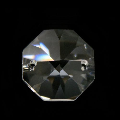 Ottagono 28 mm cristallo sfaccettato due fori -Asfour 1080-