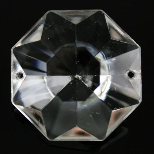Ottagono 32 mm vetro veneziano colore puro trasparente, 2 fori
