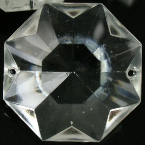 Ottagono 36 mm vetro veneziano colore puro trasparente, 2 fori