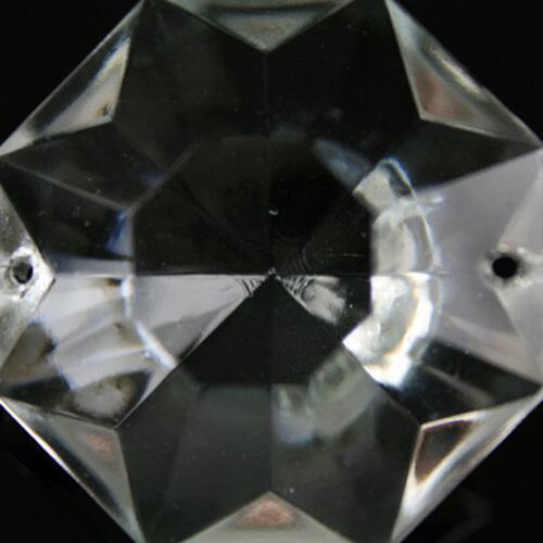 Ottagono 38 mm vetro veneziano colore puro trasparente, 2 fori