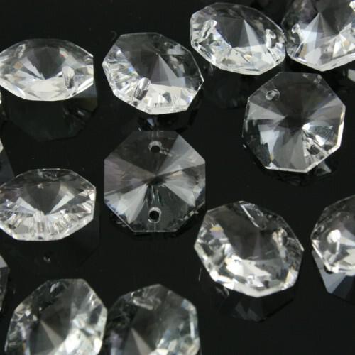 Ottagono cristallo trasparente 14 mm 32 facce a raggera 2 fori
