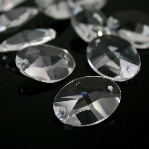 Ovalino a due fori 26 mm - CristalloVetro molato