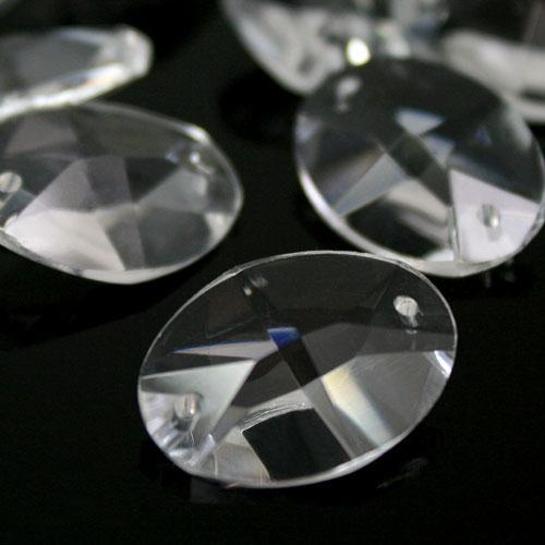 Ovalino a due fori 30 mm - Cristallo Vetro molato