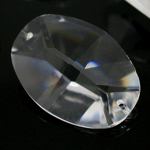 Ovalino a due fori 40 mm - Cristallo Vetro molato