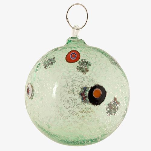 Palla di natale vetro Murano verde tutto argento con murrine colorate