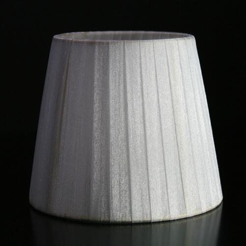 Paralume  Ø14 Ø10 h12 cm tronco conico rivestito da organza bianco. Montatura oro a molla.