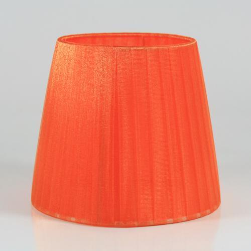 Paralume 14x10x12 cm rivestito in velo siena organza arancio. Montatura bianca attacco E14