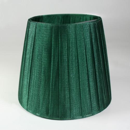 Paralume 14x10x12 cm tronco conico rivestito da organza verde scuro. Montatura argento attacco a molla.