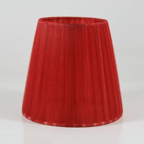 Paralume Ø12 Ø8 h11 cm tronco conico rivestito da organza rosso bordeaux. Montatura bianca a molla.