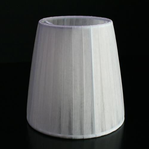 Paralume Ø12 Ø8 h12 cm tronco conico rivestito da velo siena bianco. Montatura bianca a molla.