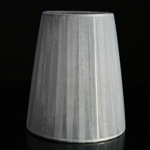 Paralume Ø12 Ø8 h14 cm tronco conico rivestito da velo siena grigio chiaro. Montatura argento a molla.