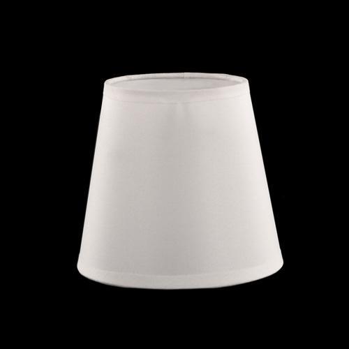 Paralume tronco cono Ø13 x Ø9 x h12 cm - cotonette bianco con passamaneria bianca - attacco E14 - telaio bianco