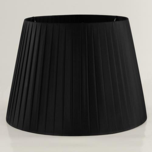 Paralume tronco cono Ø35 x Ø25 x h25 cm - cotonette plissè nero - attacco E27 - telaio bianco