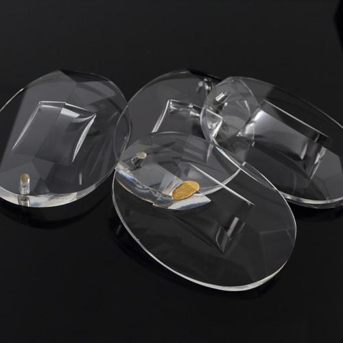 Pendente in vetro puro di Boemia h80 mm ovale. Per restauro lampadari vintage