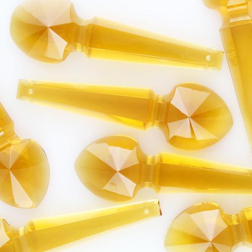 Pendente placca goccia cristallo di Boemia ambra 100 mm con foro passante. Goccia per restauro lampadari.