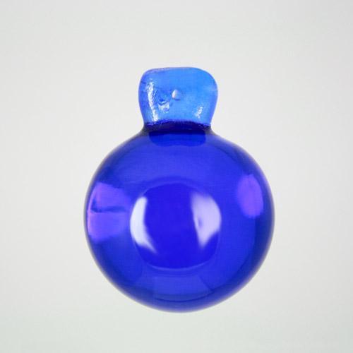 Pendente sfera 35 mm blu cobalto + codolo con foro. Vetro Murano.