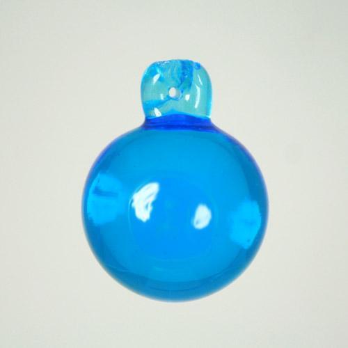 Pendente sfera 40 mm acquamare + codolo con foro. Vetro Murano.