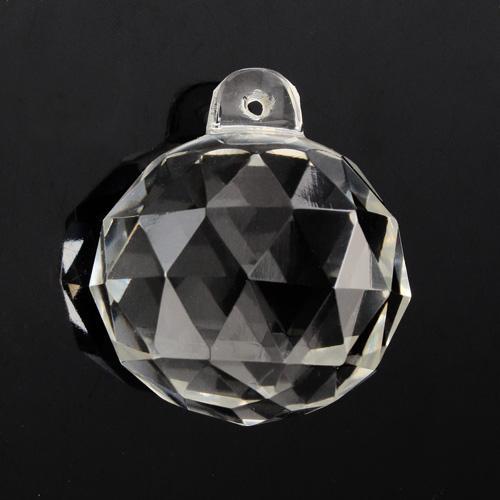 Pendente sfera Ø40 mm sfaccettata in cristallo trasparente di Boemia. Cristallo vintage per restauro lampadari.