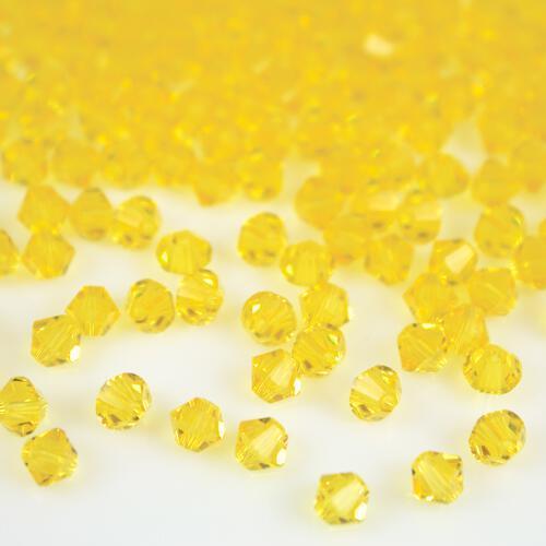 Perla bicono Citrine 4 mm cristallo Swarovski 5328 bead