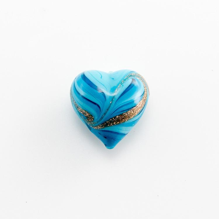 Perla di Murano a cuore 20 mm vetro acquamare turchese con avventurina e foro passante