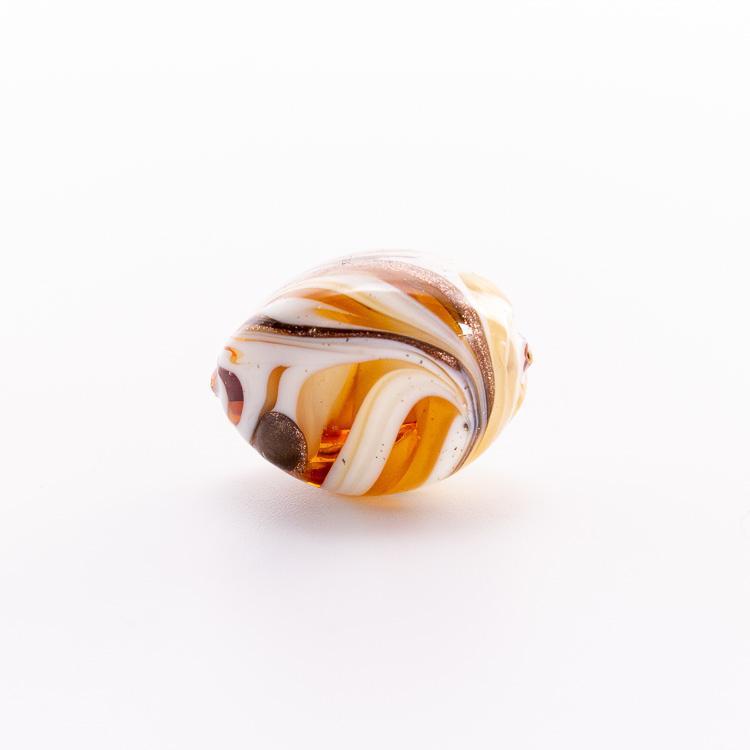 Perla di Murano a oliva 20 mm, vetro avorio e bianco con avventurina. Foro passante.