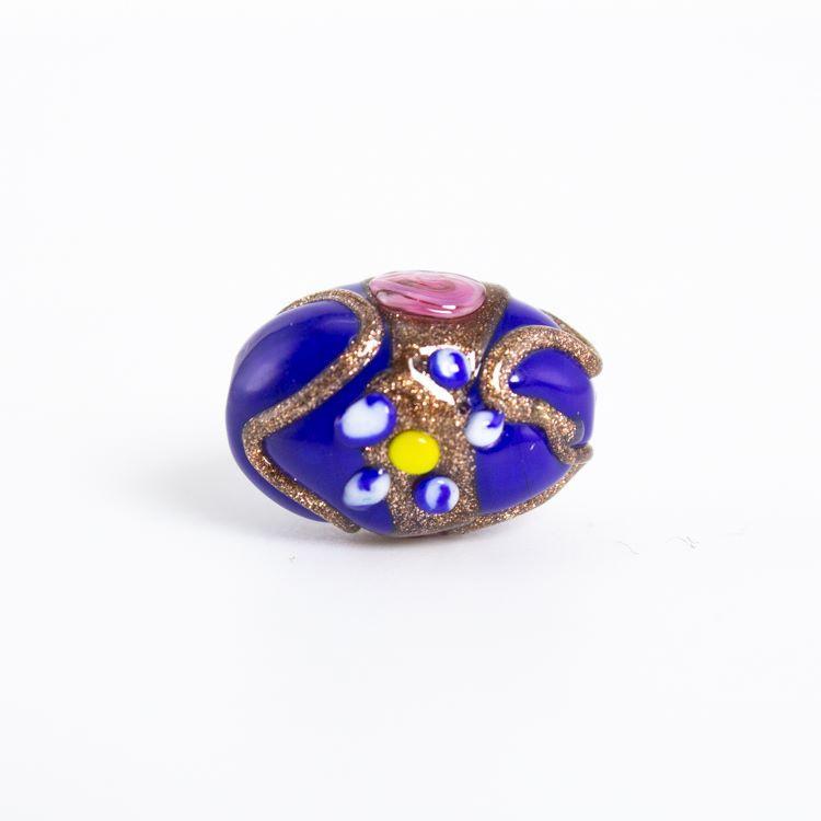 Perla di Murano a oliva policroma da 18 mm, con fori passanti, blu con decorazioni