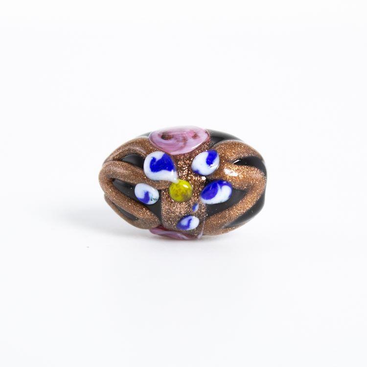 Perla di Murano a oliva policroma da 18 mm, con fori passanti, nera con decorazioni