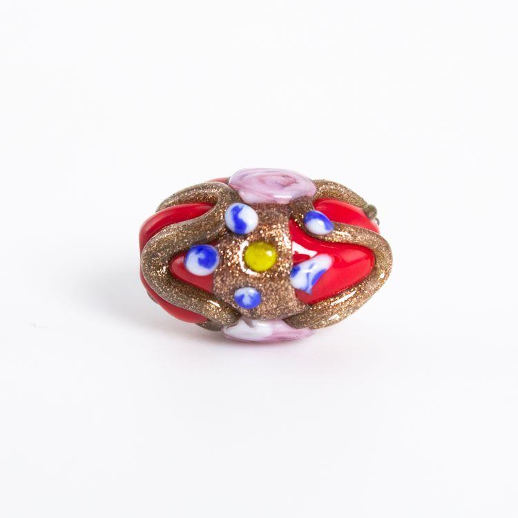 Perla di Murano a oliva policroma da 18 mm, con fori passanti, rossa con decorazioni