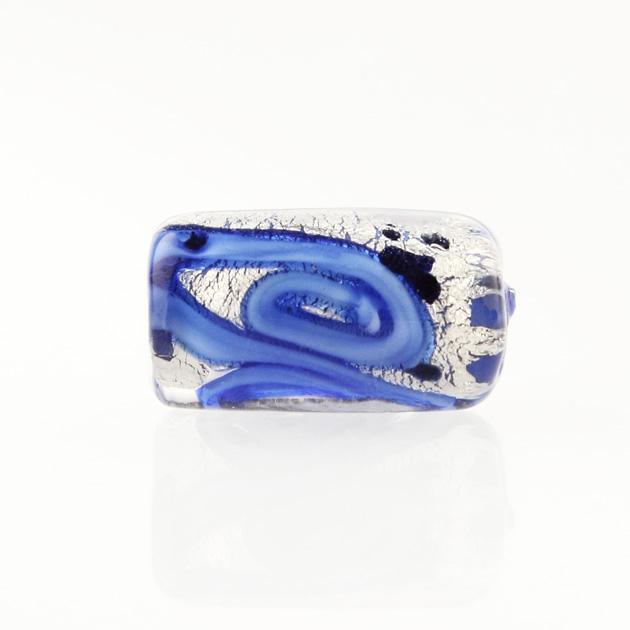 Perla di Murano cilindro Medusa Ø8x20. Vetro blu, foglia argento e avventurina blu. Foro passante.