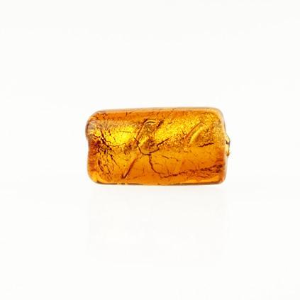 Perla di Murano cilindro Sommersa Ø8x15. Vetro topazio, foglia oro. Foro passante.