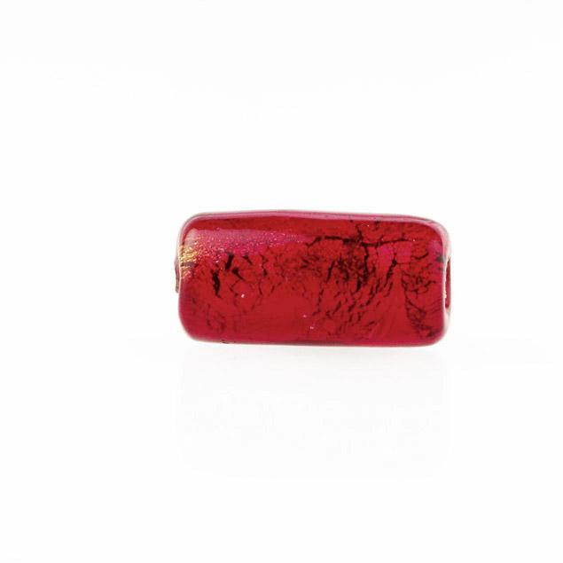 Perla di Murano cilindro Sommerso Ø8x15. Vetro rosso, foglia oro. Foro passante.