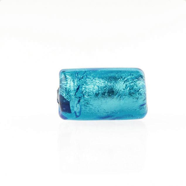 Perla di Murano cilindro Sommerso Ø8x15. Vetro acquamare scuro, foglia argento. Foro passante.