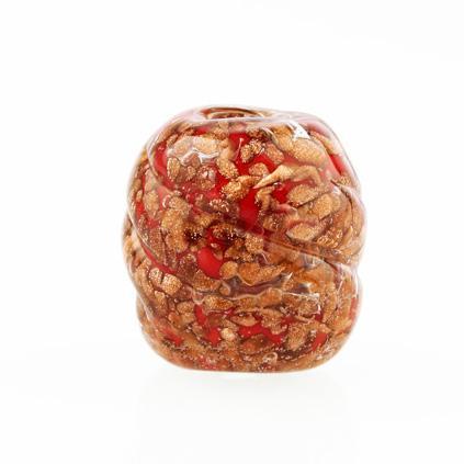 Perla di Murano melone Sommerso Ø18. Vetro rosso, con avventurina. Foro passante.