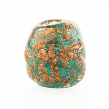 Perla di Murano melone Sommerso Ø18. Vetro verde, con avventurina. Foro passante.